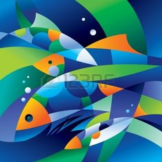 10540386-abstract-fishes-in-the-depths-of-the-ocean-vector-illustration.jpg (400×400)
