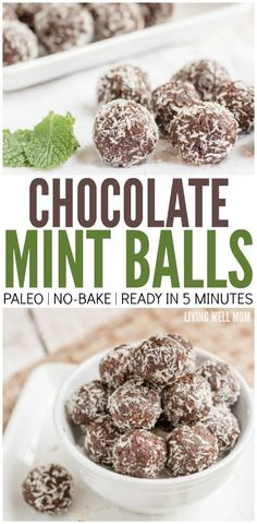 Leave out mint. Maybe sub vanilla. These Chocolate Mint Balls are addictively delicious and with no grains, dairy, or refined sugar, it& a guilt-free snack! Plus they take just 5 minutes to make! Advantages And Disadvantages Of Snacks Protein Snacks, Protein Cake, Protein Muffins, Protein Cookies, Protein Recipes, High Protein, Paleo Dessert, Dessert Recipes, Menta Chocolate