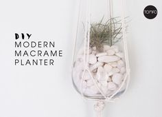 How to make a modern macrame plant hanger with venetian blind cord, a stemless wineglass, an air plant and some decorative rocks. It's super easy to do, check out the tutorial below.  Y…