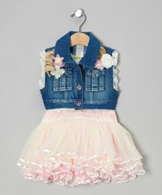 Take a look at this Pink Vogue Tutu Dress & Denim Vest - Toddler & Girls on zulily today!