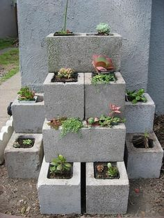 I never thought cinder blocks could look so nice...well, an artist friend of mine painted pictures on some once and they looked great, but this is a cool idea for a small garden spot.