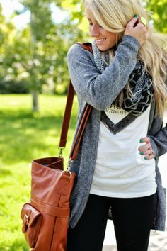 Grey Cardigan + Casual Tee + Roomy Tan Bag