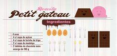 Receita ilustrada de Petit Gateau, um bolinho muito fácil e rápido de fazer. Ingredientes: ovos, açúcar, farinha de trigo, manteiga e chocolate meio amargo.