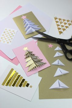 Photo Tutorial Handmade Christmas Cards Trees Origami Units Goldne Tapes Luv Them