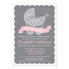 It's a Girl Baby Shower Invitation — A cute lace style baby buggy (pram / stroller) decorated with baby birds and swirls of vines completes this modern baby shower invitation. Baby Shower Winter, Baby Shower Fun, Baby Shower Themes, Shower Ideas, Fun Baby, Girl Shower, Baby Shower Invitation Cards, Baby Shower Invitations For Boys, Babyshower Invites