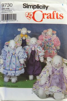 """Simplicity 9730 26"""" Lambs and Clothes"""