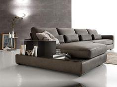 canapé modulable en cuir gris anthracite avec rangement intégré et carrelage sol…