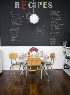 Love this idea! See more fresh ideas for chalkboard paint at https://lullabypaints.com/blog/article/fresh-ideas-chalkboard-paint-for-your-rooms/