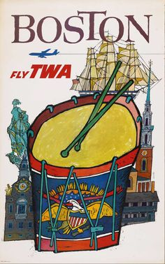 1963 #Boston -- Fly TWA. Artist: David Klein. #poster #ephemera #TWA #Massachusetts #travelposter ⌘ http://www.flickr.com/photos/sandiv999/4054722716/