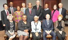 Members of the UMC's NEJ College of Bishops (Active and Retired)--Seated (from left): Bishops Peggy Johnson, Latrelle Easterling, Violet Fisher, John Schol and Jane Middleton. Standing (from left): Bishops Jeremiah Park, Ernest Lyght, Cynthia Moore-Koikoi, Mark Webb, Sudarshana Devadhar, Thomas Bickerton, Marcus Matthews, Sandra Steiner-Ball and Peter Weaver. John Coleman photo.