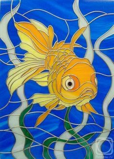 Fantail goldfish in deep blue waters. Can be made at any custom size-