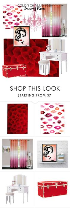 """""""Beauty Room - Red & Pink"""" by adriana-picos ❤ liked on Polyvore featuring interior, interiors, interior design, home, home decor, interior decorating, Pier 1 Imports, WALL, Achim and Poundex"""