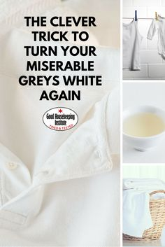 How cleaning white clothes with vinegar can get them looking as good as new Greyed whites? Here's some helpful tips to prevent this happening next time. Whiten White Clothes, Washing White Clothes, Cleaning White Clothes, How To Whiten Clothes, Deep Cleaning Tips, House Cleaning Tips, Spring Cleaning, Cleaning Hacks, Cleaning Solutions