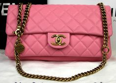 a4f614704a53 CN0028 Chanel CC Crown Flap Bag Pink Original Leather A85762 Gold Girls  Life, Everything Pink