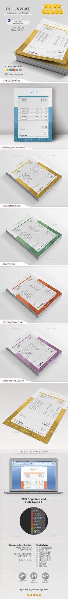 Invoice Template PSD, AI, EPS, INDD, IDML, DOCX, DOC & XLSX