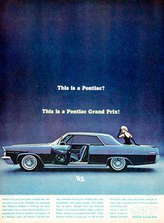 1962 Ad Vintage 1963 Pontiac Grand Prix Car Blue Automobile Bucket Seats GP Auto