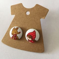 Fabric Covered Button Earrings Little Red by TheHomemadeHaven