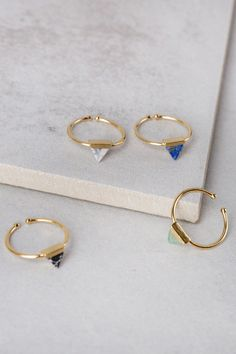 Stone Triangle Adjustable Ring