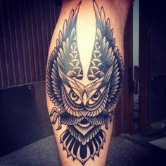 Guarding owl tattoo - american calf tattoo on TattooChief.com