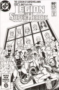 Legion of Superheroes  & Legion of Super Villians Homage to Justice League of America 195 Comic Art