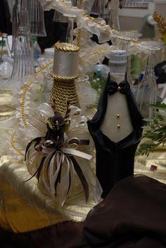 Decorated Wine Bottles for Wedding - Decoraciones para bodas en houston tx