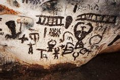 At prehistoric rock art sites around the world, we find mysterious messages from ancient peoples and civilizations. Art Sites, First Nations, Ancient Art, Caves, Prehistoric, Rock Art, Civilization, Mystery, Around The Worlds