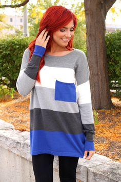 Colorblock Stripe Sweater   uoionline.com: Women's Clothing Boutique