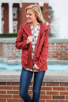 """""""Gone Again Jacket, Brick""""    If you're on the go, this is the jacket for you! The brick red color is fabulous for the season! Military style jackets are so popular but they are usually in olive but we loving the brick!! It's such a fun new take on the style!"""