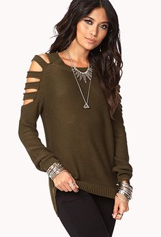 Cutout Shoulder Sweater | FOREVER21 - 2042161198