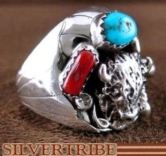 Navajo Indian Jewelry Coral And Sleeping Beauty Turquoise Buffalo Sterling Silver Ring