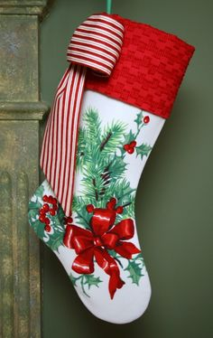 Vintage Tablecloth Christmas Stocking with Vintage Chenille Cuff
