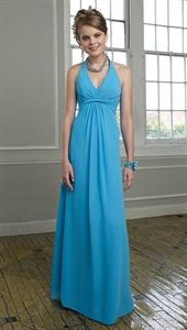 Mori Lee 293 Peacock Chiffon Halter V-Neck Twisted Bridesmaid Dresses $112.00