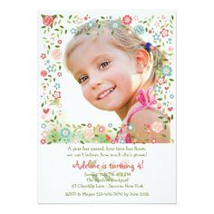Photo Card Birthday Invitation Garden Flowers White Photo Invitation