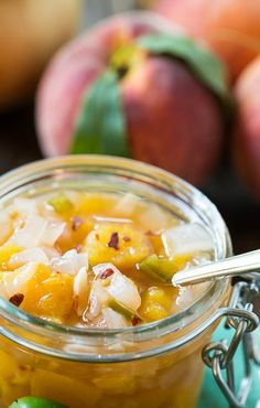 Peach-Vidalia Onion Relish with jalapenos, makes a great summer topping for hot dogs.