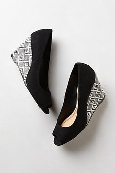 Geo-Weave Wedges perfect black and white wedges! #anthropologie