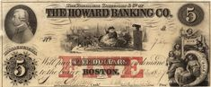 """Before the United States had a Federal currency, individual banks issued """"bank notes"""" which holders could exchange for silver or gold coins at that bank. This bill featuring Santa Claus was issued in the 1850s by the Howard Banking Company, of Boston, Massachusetts"""