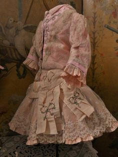 Marvelous French Pink Silk and Lace Bebe Costume