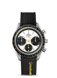 326.32.40.50.04.001 : Omega Speedmaster Racing Co-Axial Chronograph Silver-Yellow / Rubber