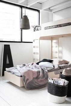 A shared kids room in greys and pinksbeds for kids sharing one room - Rafa-kids F&A set whitewash