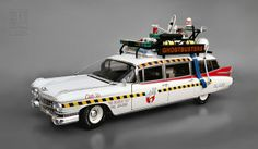 Ghostbusters - GHOSTBUSTERS' ECTO-1A (1959 Cadillac Ambulance conversion) from Ghostbusters II - 1:18 scale die cast by Hot Wheels Elite / M...