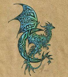 Celtic dragon -darker blue and green