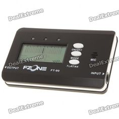 """Model: FT-90 - Color: black + white - 2.0"""" LCD display - Tuning range: A0 (27.5Hz) ~ A6 (1760.Hz) - Tuning type: Guitar/Bass - A4 frequency: 430Hz-450Hz - Powered by 2 x AAA batteries (included) - Comes with English manual http://j.mp/1tisggl"""