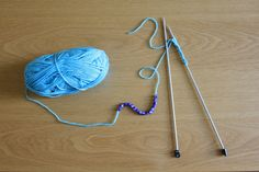 How to knit with beads. And knit them into a friendship bracelet.