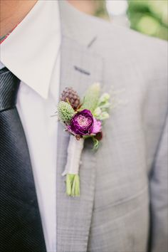 Purple and green Groom's Boutonniere