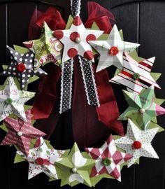 DIY Christmas Wreath Ideas - 3D Paper Straw Wreath - Click Pick for 24 DIY Christmas Decor Ideas