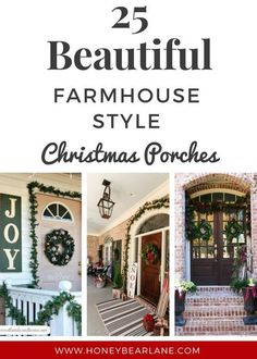 These stunning farmhouse style Christmas porches will inspire you to create beautiful farmhouse style decor of your own! #ChristmasDecor #FarmhouseChristmas #christmasiscomingdecor #deckingfortheholidays #icantwaittodecorate #hollyjollyhomedecor