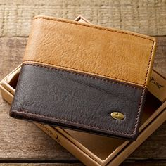Two-Tone Genuine Leather Men's Wallet with Cross Stud
