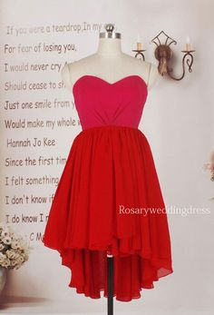 Sweetheart hi low short chiffon party formal dress on Etsy, $89.00