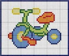 Triciclo Simple Cross Stitch, Cross Stitch For Kids, Cross Stitch Baby, C2c Crochet, Tapestry Crochet, Crochet Baby, Cross Stitch Designs, Cross Stitch Patterns, Cross Stitching