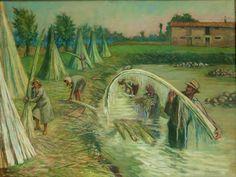 G.Pancaldi - Vita contadina, raccolto della canapa (2) metà '900 olio su tela 85x105